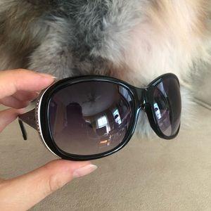 Pristine Bulgari Black Sunglasses with crystals